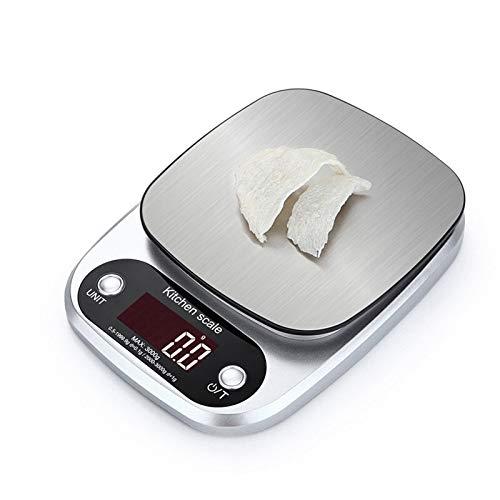 yurunn Báscula de Cocina Digital báscula electrónica Gran Superficie de pesaje iluminación Pantalla LCD inglés 10 kg / 1 g