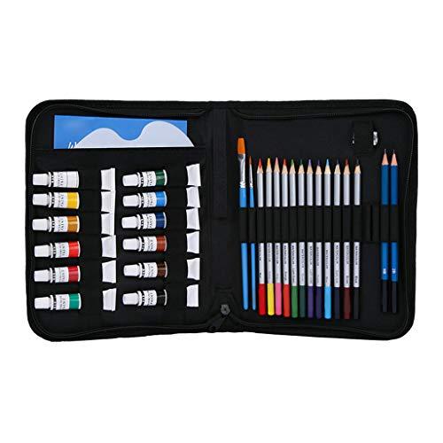 kdjsic 31 lápices de colores y acuarela. Set de suministros escolares para dibujos, lápices para principiantes