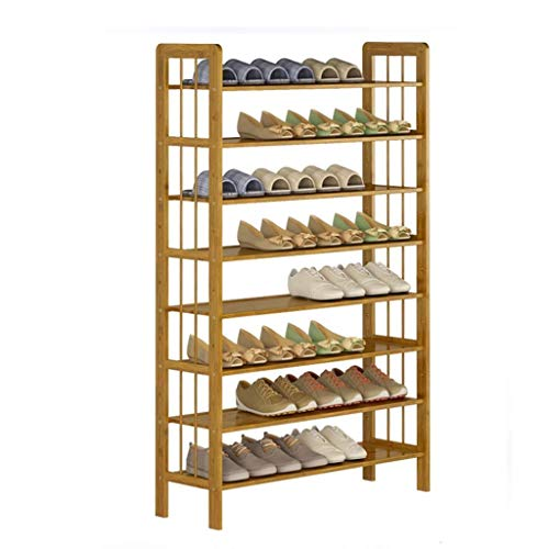 WMYATING Zapatero de almacenamiento simple y práctico, compacto de bambú zapatero de 8 capas, estante de almacenamiento independiente, multifuncional, ahorro de espacio (tamaño: 70 cm)