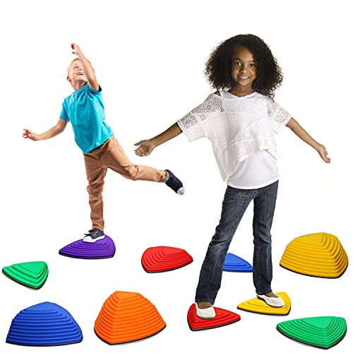 Kreativz Stepping Balance Stones for Kids, 11 Piece Set. Promotes Coordination, Balance and Strength. Child Safe with Non Slip Rubber Edge