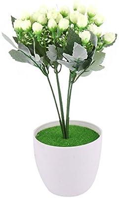 eDealMax Plastic Pot Dormitorio mestiere di DIY decorazione simulazione artificiale Flower Bud Beige