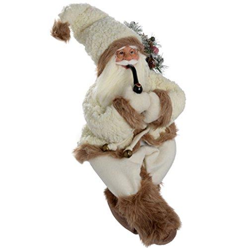 WeRChristmas - Decorazione Natalizia a Forma di Babbo Natale Seduto con Una Pipa e con la Pelliccia, 60 cm, Colore: Bianco/Marrone