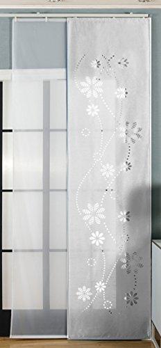 Gardinenbox 2er-Pack Schiebegardine Flächenvorhang, Albi Weiß, 245x60 cm (HxB) Lasercut Wildseide Optik Voile inkl. Paneelwagen und Beschwerungsstangen, 1656100