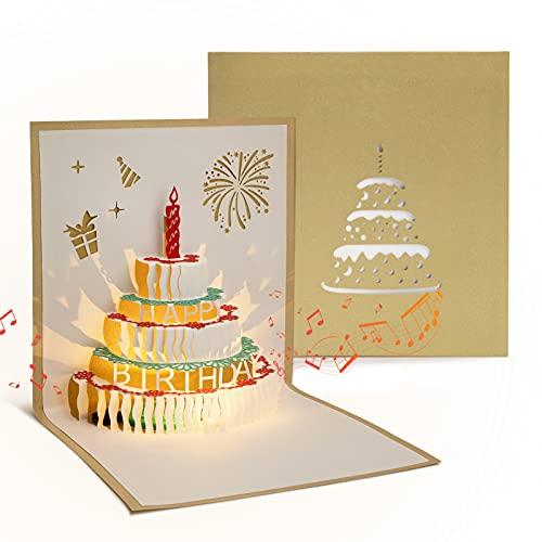 DORART Dorado Tarjeta Cumpleaños Emergente, Tarjeta Felicitación Cumpleaños Original, Tarjetas 3D Pop-up de Música con Sonido como un Creativo Regalo a Familias, Amigos y Niños (Incluido Sobre)