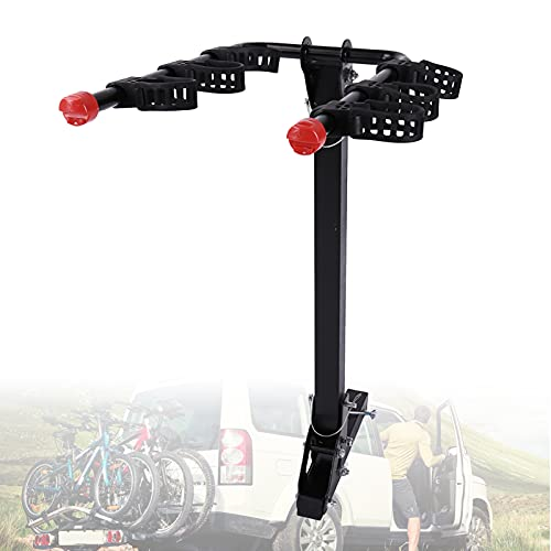 EFGS Collapsible Bicycle Car Rack,travel Tow Bar Bike Rack 3 Bikes, T-shaped Support Feet with Anti-release Beer Design for Cars, Trucks, Suv, Minivans(load-bearing 70kg)