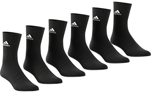 adidas Cush CRW 6PP Calcetines, Unisex Adulto, Top:Black/Black/Black/Black Bottom:Black/Black, KS