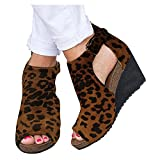 Aniywn Open Toe Wedge Shoes for Women Ankle Buckle Platform Cutout Wedge Sandals Boots Animals Print Vintage Ankle Boots Brown