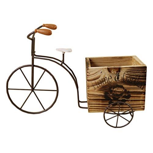 DOITOOL Bicicleta Maceta de Hierro Planta Soporte Ornamento Creativo Bicicleta de Madera Artesanal Caja de Flores Decoración de Escritorio para El Hogar -L (Madera)