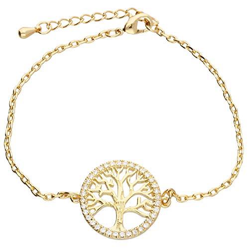 löb Mujer Brazalete Pulsera de cadena Árbol de Vida Anillo circular con árbol de la Vida y circonitas brillantes oro chapado en oro lgoa5