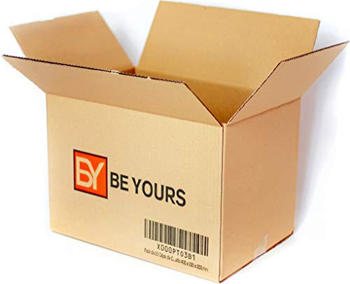 BeYours Pack de 20 Cajas de Cartón - 430 x 300 x 250 mm - DISPONIBLE EN VARIOS TAMAÑOS - Fabricadas en España - Canal Simple de Alta Calidad Reforzado - Cajas de Mudanza Muy Resistentes, ECO-FRIENDLY