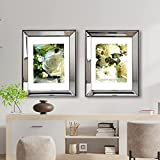 GIMORRTO Mirror Picture Frame 11x14 - Beveled Mirrored Silver Photo Frame 2 Pack with Metallic Color Border for Wall Decor, Tabletop, Photo Gallery