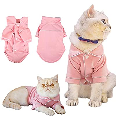YUECUTE Shirt Dog Pajamas Soft at Clothes Dogs Clothing Pet Outfits with Lapel and Button Overalls Jumpsuit (M, PINK)