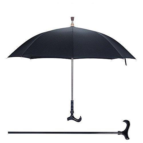Multi - Funktions - Gehstock Ein Schirm Stock Alter Regenschirm Crutch Schwarze Aluminiumlegierung 84Cm Krücke Schirm Durchmesser 106Cm