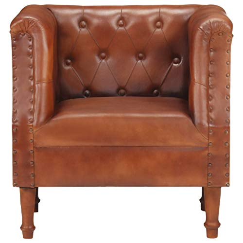 Goliraya klassischem Sessel Loungesessel mit Hocker Clubsessel Cocktailsessel Echtes Ziegenleder Sessel Braun/Grau
