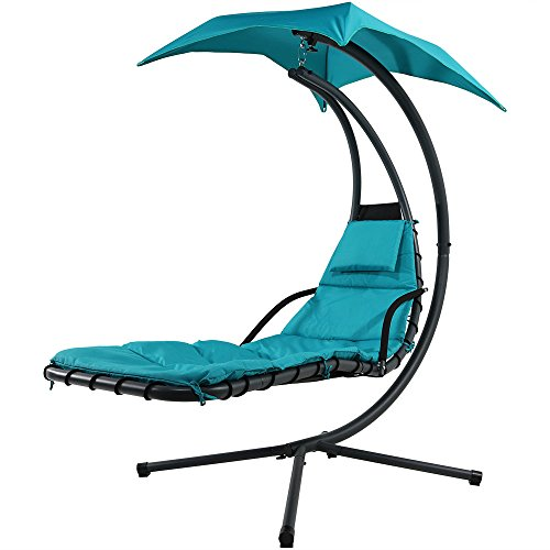 Sunnydaze Teal Floating Chaise Lounger Swing Chair with Canopy Umbrella, 43 Inch Wide x 80 Inch Tall