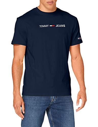 Tommy Hilfiger TJM Straight Logo tee Camisa, Azul Marino (Twilight Navy), S para Hombre
