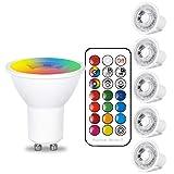 GU10 LED電球 電球色 リモコン操作 50W相当 12色選択 調光調色可能 GU10 口金普段照明用 装飾照明 カラー多彩電球 雰囲気照明 記憶機能 タイミング機能 高輝度 クリスマス/結婚式/パーティー バー/カフェー 6w電球 6個(リモコン付き)