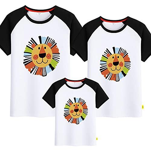 SANDA Ropa Mama E Hija,Kindergarten león Cuello Redondo Camiseta Padre-niño Servicio de Clase de niños Deportes Hombros Mangas Cortas-En...