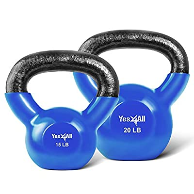 Yes4All Combo Vinyl Coated Kettlebell Weight Sets – Great for Full Body Workout and Strength Training – Vinyl Kettlebells 15 20 lbs from Yes4All