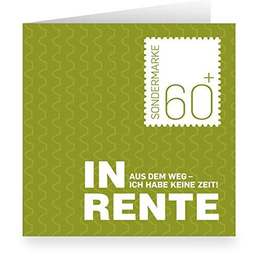 In de set: Groene 60+ Pensionskaart: Uit de weg - ik heb geen tijd afscheidskaart • vierkant • vrolijke vouwkaarten set voor afscheid met spreuk voor collega's, vrienden, familie voor pensionering 12 Rentenkarten groen