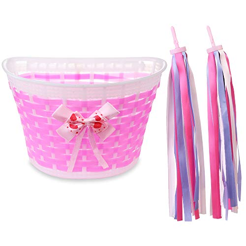 MINI-FACTORY Girl's Bike Basket Streamer Set, Kid's Basket with Streamers Children's Bike Accessory Gift Set for Bicycle Front Handlebar (Pink)
