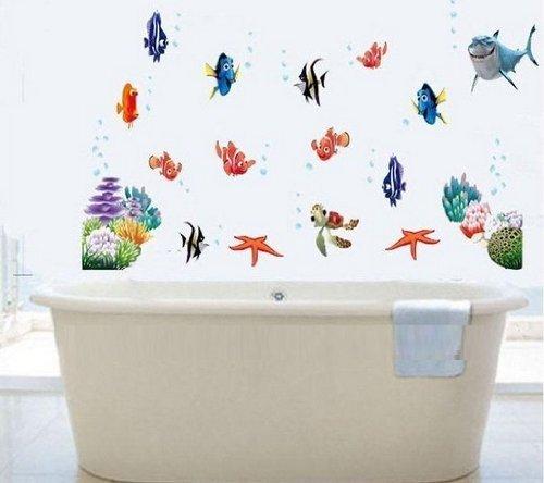 DecoBay Finding Nemo Fisch Wand Sticker Mehrweg Wiederverwertbar Kinder Aufkleber Badezimmer Wandtattoo Kinderzimmer Wandsticker