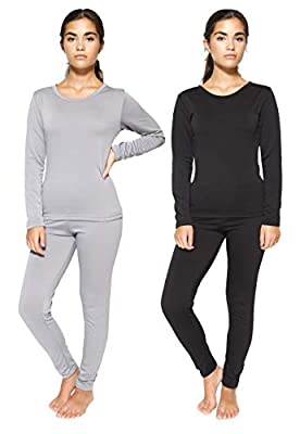 2 Pack: Womens Thermal Underwear Set Thermal Underwear for Women Fleece Lined Legging Long Johns Skiing Apparel-Set 1,M