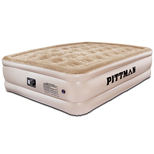 Pittman Outdoors Comfort Series Indoor Air Mattress with Built-in Electrical Air Pump, Queen 20-Inches Tall, Tan