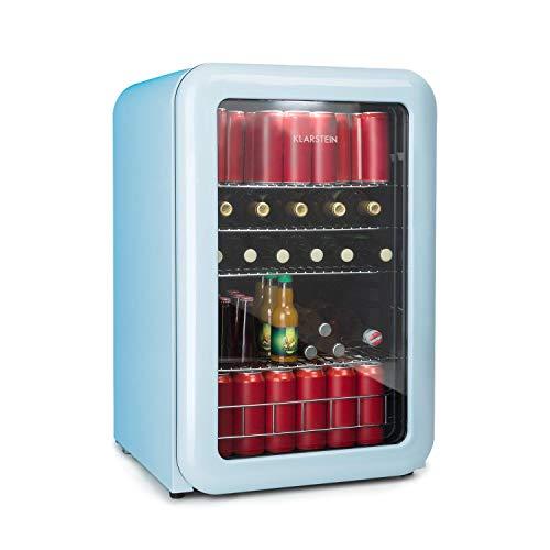 Klarstein PopLife Retro Getränkekühlschrank - A+, 115 Liter, 0-10°C, doppelt verglaster Fronttür, LED-Licht, nur 39 dB, Retro-Kühlschrank, Mini-Kühlschrank, blau [Energieklasse A+]