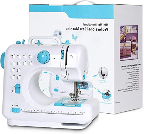 Sewing Machine,Crafting Mending Mini Sewing Machines,with 12 Built-In Stitches Perfect for Easy Sewing, Beginners, Kids (Blue)