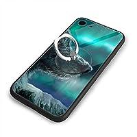 狼とオーロラiPhone7ケース/iPhone 8 ケース 4.7インチ 強化ガラス 耐衝撃 ガラスTPU バンパー薄型 携帯カバー 全面保護 リング付き 衝撃防止 スタンド機能 高級感 おしやれ 人気 かわいい