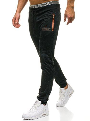 BOLF Herren Jogginghose Sporthose Trainingshose Jogger Sweathose Fitnesshose Jogpants Fußballhose Sweatpants Motiv Print Army Baumwolle Slim Fit RED Fireball W1336 Schwarz XXL [6F6]