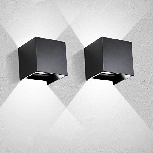Lightess 2PCS 12W Wandlampe LED Innen Aussen Schwarz 120° mit einstellbaren Abstrahlwinkel Design Wandleuchten Modern Up Dwon Licht IP65 Wasserdicht aus Aluminium Kaltweiß
