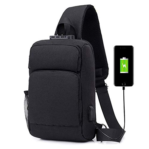 ZZYLHS Borsa Petto Grande USB capacità di Ricarica Pacco Petto Uomo Casual Spalla Crossbody Bag Sacchetto della Cassa Antiusura Viaggio Messenger Bag Maschio Sling Bag (Color : Black)