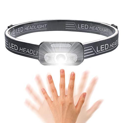 Wesho Lampe Frontale LED Rechargeable Puissante Brillante de 250 Lumens USB avec Détecteur de Mouvement, IPX65 Étanche, 5 Modes d'Éclairage, pour Le Camping, la Pêche, Le Jogging et la Randonnée