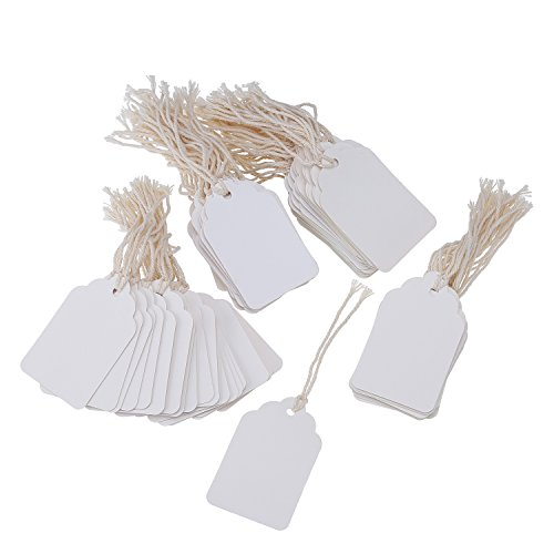 Paper Gift Tags Marking Tags Price Tags Price Labels Display Tags with Hanging String, 200 Pack, 44 by 70 mm (White)