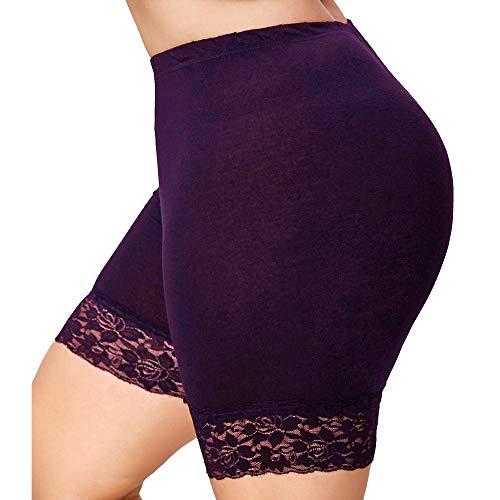 SHOBDW Moda Las Mujeres de Encaje Tallas Grandes Cintura Media Faldas escalonadas Falda Corta bajo Pantalones de Seguridad Ropa Interior (5XL, Blanco)