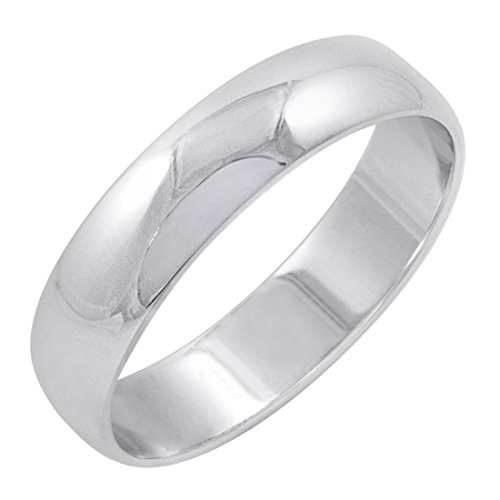 Men's 14K White Gold 5mm Traditional Plain Wedding Band (Available Ring Sizes 8-12 1/2) Size 12.5 14k Gents Wedding Band