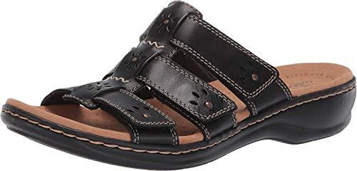 Clarks Women's Leisa Spring Sandal, Black Leather, 85 M US