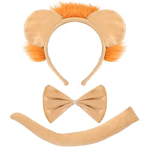 3 Pièces Accessoires de Costume de Lion Comprenant Bandeau Queue et Noeud Papillon de Lion pour Anniversaire Fête de Cosplay Costume d'Halloween