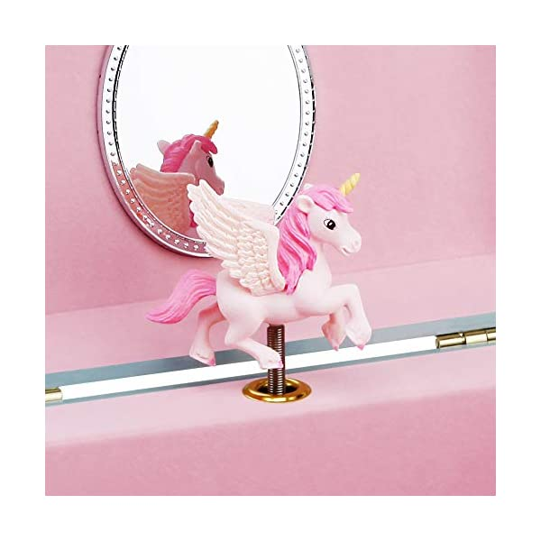 RR ROUND RICH DESIGN Kids Musical Jewelry Box for Girls with 3 Drawers and Jewelry Set with Magical Unicorn - Blue… 6