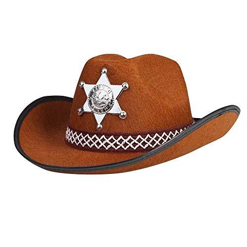 Boland 04107 - Kinderhut Sheriff, braun, silberner Stern, Hutkordel, Cowboy, Karneval, Fasching, Halloween, Mottoparty, Verkleidung, Theater