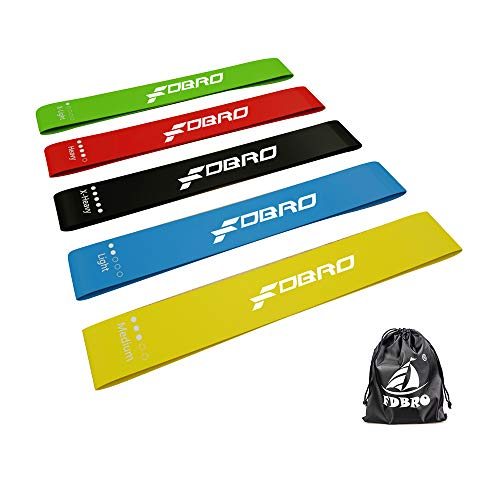 FDBRO Resistance Loop Exercise Bands for Home,Gym Bands for Women,Workout Physical Therapy, Bands for Exercising,Strength with Carry Bag,Set of 5