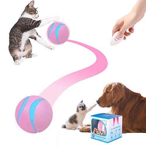Interactive Dog/Cat Toy Ball, Smart Rechargeable Automatic Moving/Rolling/Rotating Dogs&Cats Toys, LED Light Up Wicked Ball, Remote Control Pet Balls for Large/Small Dogs, Puppy and Cats
