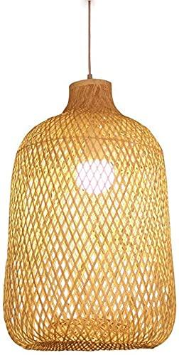 Colgante Iluminación para la cocina Isla Bambú Chandeler Habitación Cama Cama Casada Luz Corredor Colgante Luces Simple Linterna redonda
