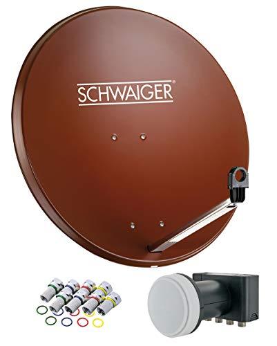 SCHWAIGER -524- Sat Anlage, Satellitenschüssel mit Quad LNB (digital) & 8 F-Steckern 7 mm, Sat Antenne aus Stahl, Ziegelrot, 75 x 85 cm