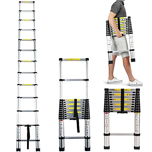 Telescoping Ladder 10.5 FT Aluminum Telescopic Ladders Folding Anti-Skip Heavy Duty Lightweight Collapsible Loft Ladders for Home RV Ladder with 330 Lbs Capacity