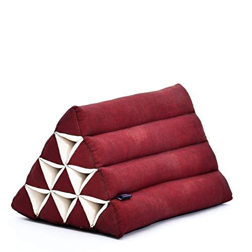 LEEWADEE Almohada Triangular tailandesa – Cojín de kapok ecológico, Respaldo cómodo para Leer, Almohadilla Hecha a Mano, 50 x 33 x 33 cm, Rojo