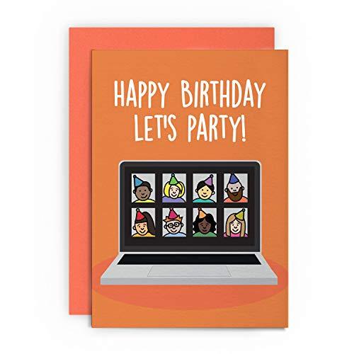 Tarjeta de cumpleaños divertida con zoom para casa, marido, esposa, novio, novia, hermano, hermana, papá, mamá, amiga, saludo feliz para él, su broma, lol humor Let's Party