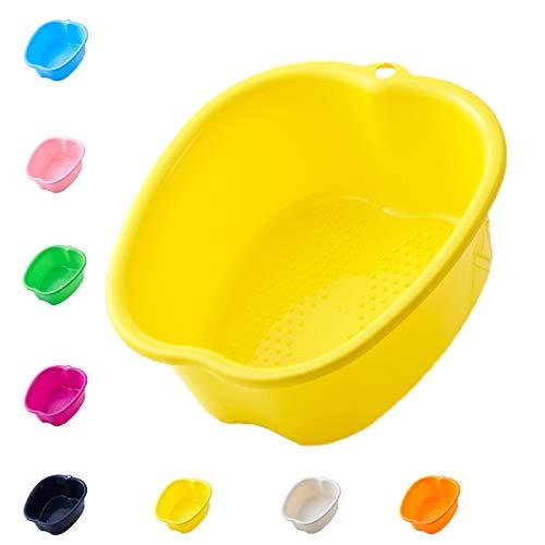 Großes Fußbadewannenschüssel,Wanne für Fußbad Stabiles Kunststoff-Fußbecken für Pediküre Einweichen Füße,fur Fußbadewanne Füße Wellness Fußpflege Pediküre Entgiftung Entspannung(Yellow)